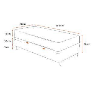 Cama Box Baú Solteiro + Colchão de Espuma D23 - Ortobom - Light 88x188x56cm
