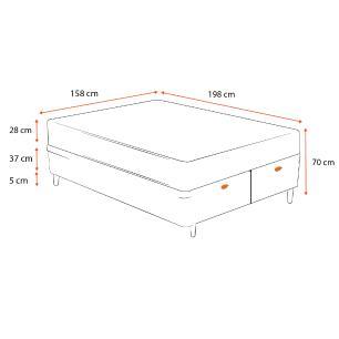 Cama Box Baú Queen Branca + Colchão de Molas Ensacadas - Sealy - Starck - 158x198x70cm
