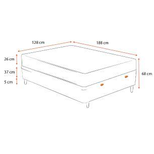Cama Box Baú Viúva Cinza + Colchão De Molas - Anjos - Black Graphite 128x188x68cm