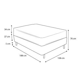 Cama Box Baú Casal Cinza + Colchão de Molas Superlastic - Plumatex - Toulouse - 138x188x76cm