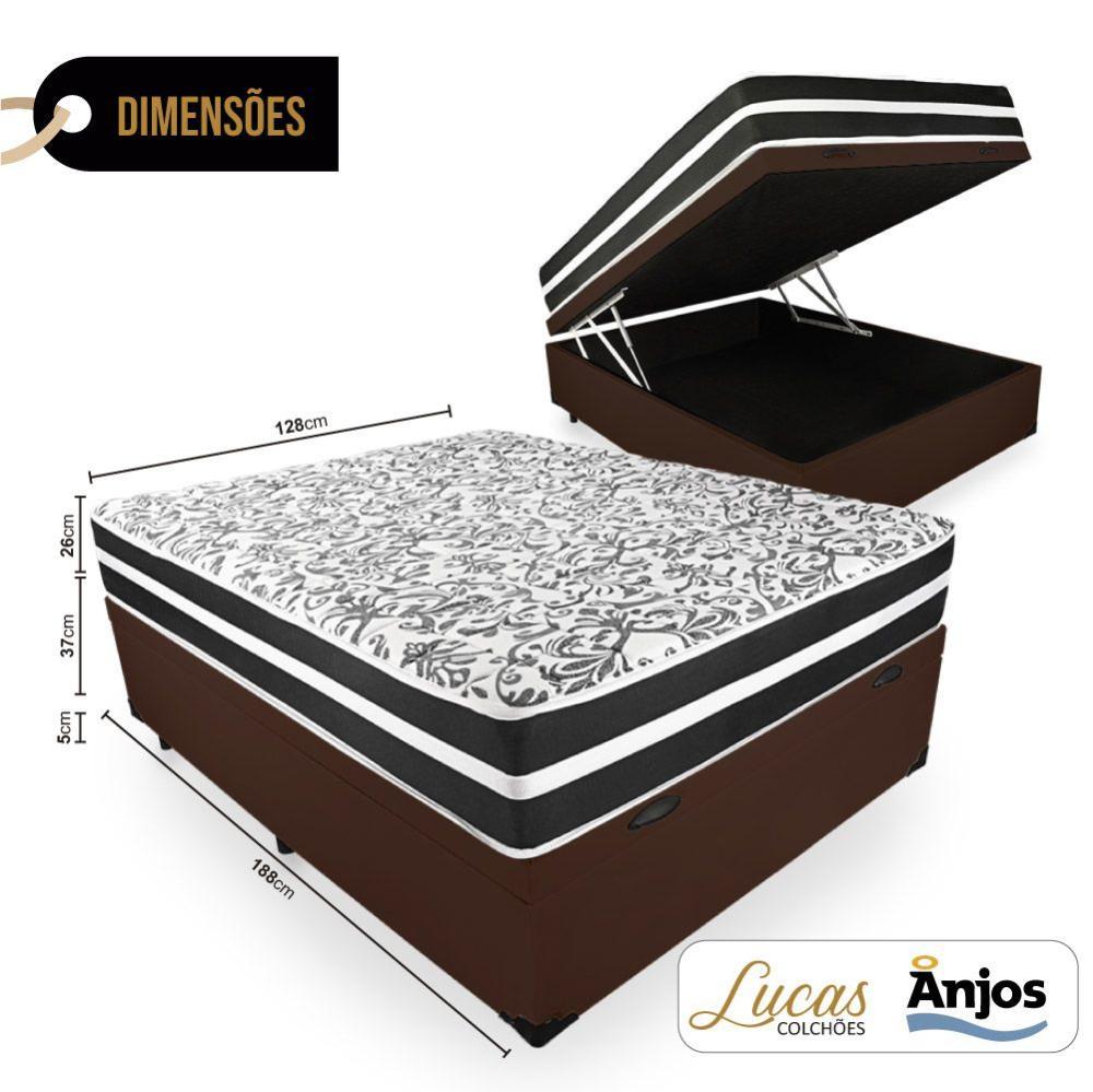 Cama Box Com Baú Viúva + Colchão De Molas - Anjos - Black Graphite 128x188x68cm