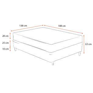 Cama Box Casal Preta + Colchão de Molas Ensacadas - Plumatex - Barcelona - 138x188x63cm