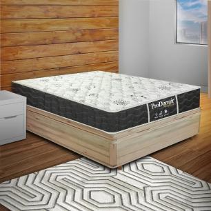 Cama Box com Baú Viúva Rústica + Colchão De Molas - Probel - Prodormir Sleep Black 128x188x64cm