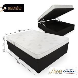Cama Box Com Baú Casal + Colchão De Espuma D23 - Ortobom - Light Liso 138x188x54cm