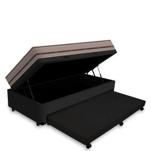 Cama Box Baú e Auxiliar Solteiro Preta + Colchão de Molas Ensacadas - Anjos - Classic - 88x188x64cm