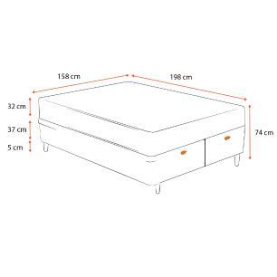 Cama Box Baú Queen Cinza + Colchão de Molas Ensacadas - Sealy - Platinum - 158x198x74cm