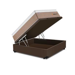 Cama Box Baú Casal Marrom + Colchão de Molas Ensacadas - Plumatex - Madri - 138x188x74cm