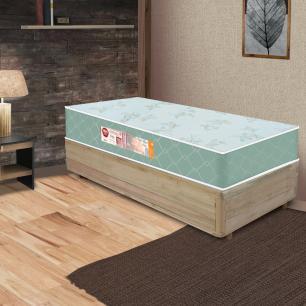 Cama Box Solteiro Rústica + Colchão De Espuma D33 - Castor - Sleep Max 88x188x55cm