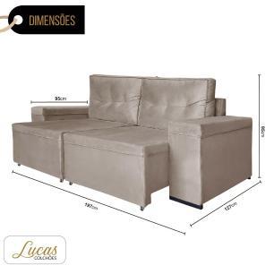 Sofá 3 Lugares Retrátil Veludo Choco - Lucas Colchões - Amarok Ref 3090