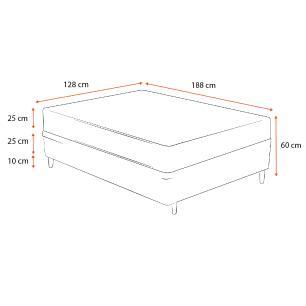 Cama Box Viúva Cinza + Colchão De Molas Ensacadas - Ortobom - ISO SuperPocket - 128x188x60cm