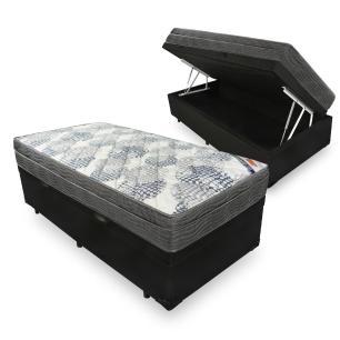 Cama Box Com Baú Solteiro + Colchão De Molas Ensacadas - Ortobom - ISO SuperPocket - 88x188x67cm