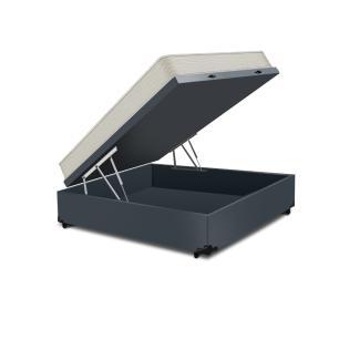 Cama Box Baú Casal Cinza + Colchão De Espuma D23 - Ortobom - Light Liso - 138x188x54cm