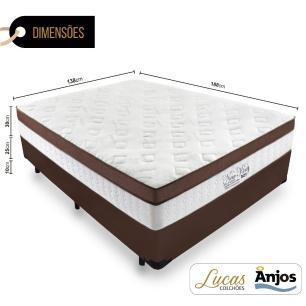 Cama Box Casal + Colchão Massageador c/ Infravermelho - Anjos  - New King - 138x188x65cm