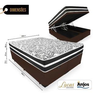 Cama Box Com Baú Queen + Colchão De Molas - Anjos - Black Graphite - 158x198x68cm