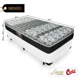 Cama Box Solteiro + Colchão De Molas - Castor - Class Tecnopedic One Face 88x188x60cm