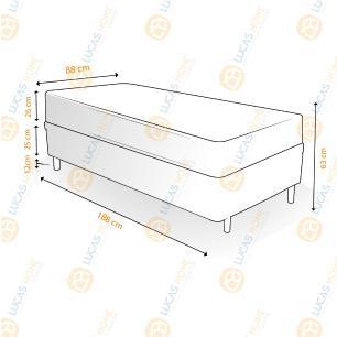 Cama Box Solteiro Rústica + Colchão Espuma D33 - Lucas Home - Confort D33 88x188x63cm