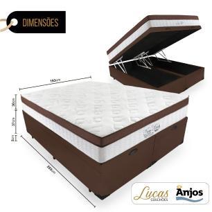 Cama Box Com Baú Super King Preta + Colchão Massageador c/ Infravermelho - Anjos  - New King - 193x203x72cm