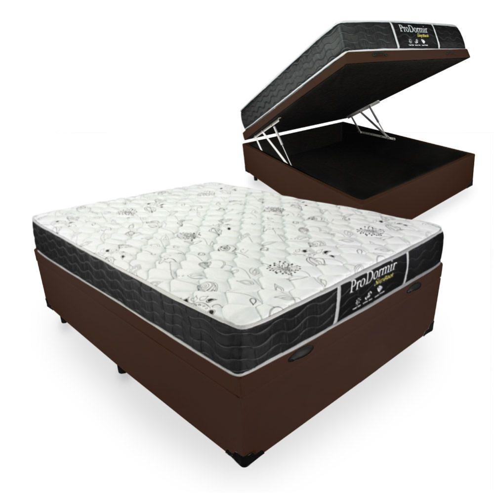 Cama Box Com Baú Casal + Colchão De Molas - Probel - Prodormir Sleep Black 138x188x67cm