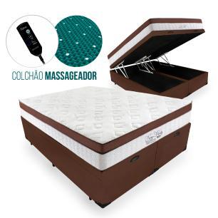 Cama Box Com Baú Queen + Colchão Massageador c/ Infravermelho - Anjos  - New King - 158x198x72cm