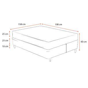 Cama Box Queen Cinza + Colchão Molas Ensacadas - Lucas Home - Capri 158x198x60cm