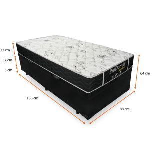 Cama Box Com Baú Solteiro + Colchão De Molas - Probel - Sleep Black 88x188x64cm