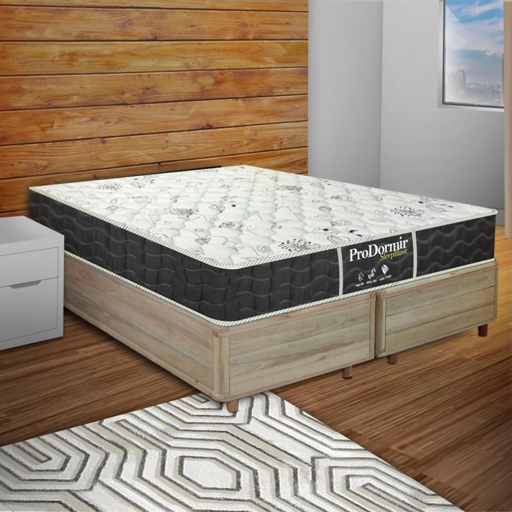 Cama Box King Rústica + Colchão De Molas - Probel - Prodormir Sleep Black 193x203x59cm