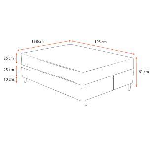Cama Box Queen Cinza + Colchão de Molas Ensacadas - Plumatex - Ilhéus - 158x198x61cm