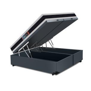 Cama Box Baú Super King Cinza + Colchão Espuma D45 - Castor - Black & White D45 Double Face 193x203x69cm