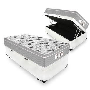Cama Box Com Baú Solteiro + Colchão De Molas Ensacadas - Probel - Evolution 88x188x74cm
