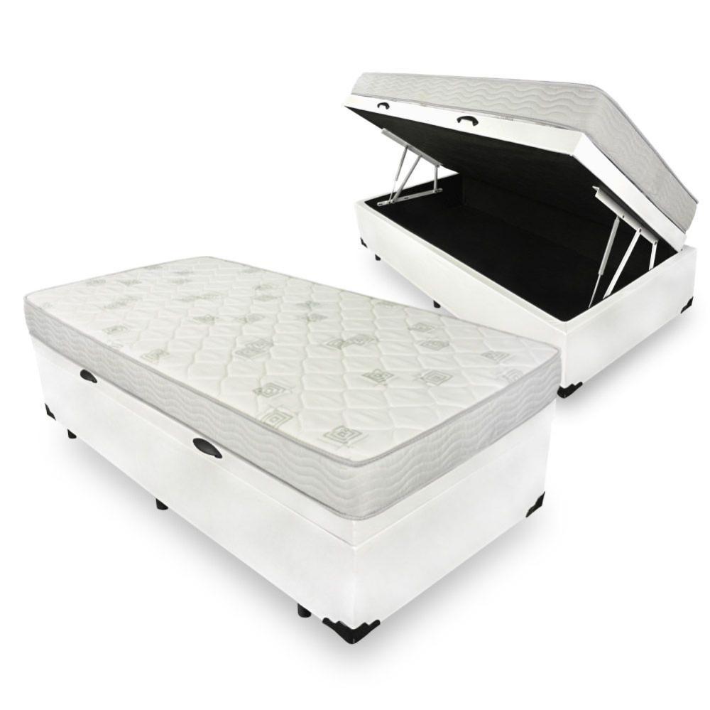 Cama Box com Baú Solteiro + Colchão de Espuma D23 - Ortobom - Light D23 78x188x56cm