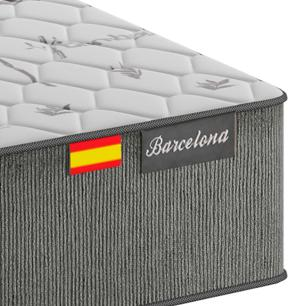 Cama Box Queen Preta + Colchão de Molas Ensacadas - Plumatex - Barcelona - 158x198x63cm