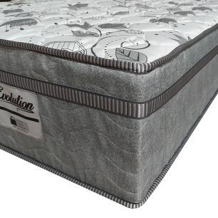 Cama Box Baú Queen Cinza + Colchão De Molas Ensacadas - Probel - Evolution 158x198x74cm