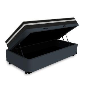 Cama Box Baú Solteiro Cinza + Colchão De Molas - Anjos - Black Graphite 88x188x68cm