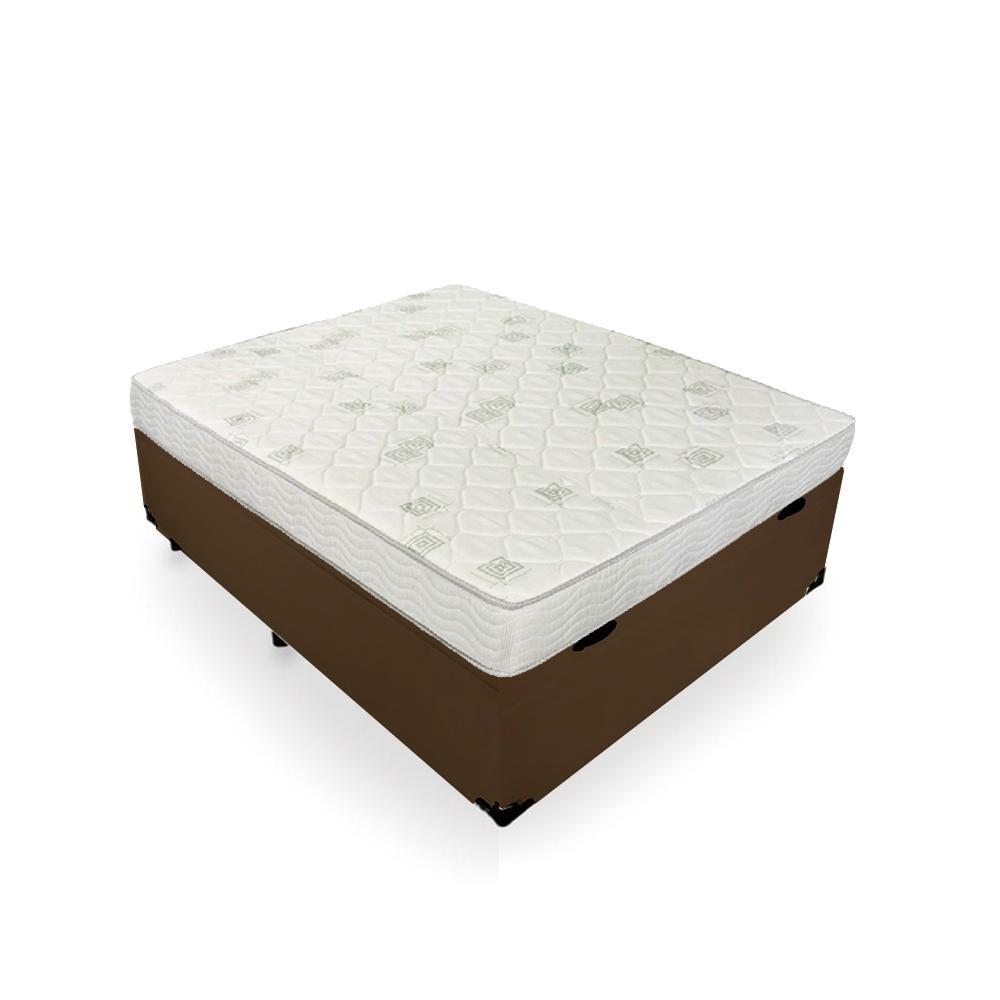 Cama Box Baú Viúva Marrom + Colchão de Espuma D23 - Ortobom - Light 128x188x56cm