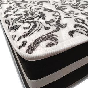 Cama Box Super King Preta + Colchão De Molas - Anjos - Black Graphite - 193x203x61cm