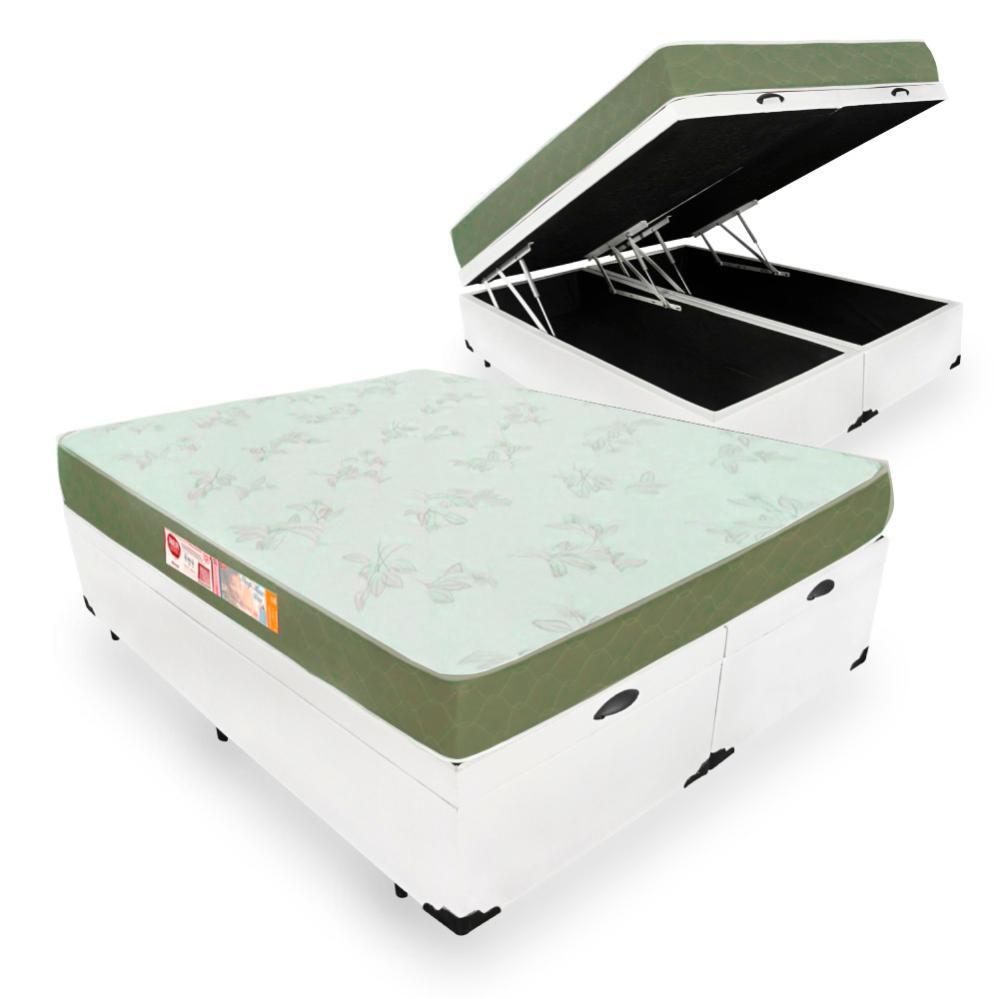 Cama Box Com Baú King + Colchão De Espuma D33 - Castor - Sleep Max - 193x203x60cm