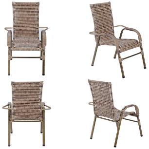 Jogo 4 Cadeiras para Area Edicula Jardim Bela, Ferro e Fibra Trama Fechada Capuccino