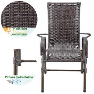 Jogo 6 Cadeiras para Area Edicula Jardim Bela, Ferro e Fibra Trama Fechada Pedra Ferro