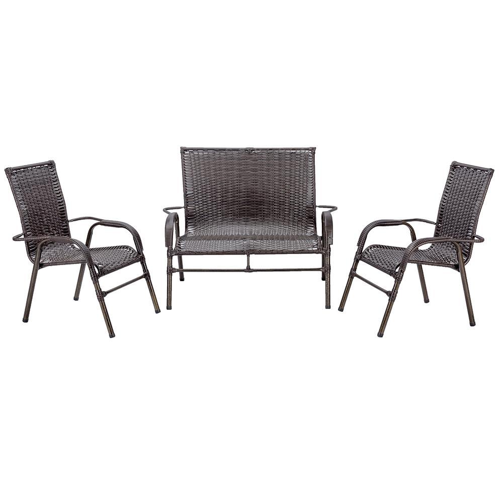 Jogo 1 Namoradeira 2 Cadeiras para Area Edicula Jardim Bela, Ferro e Fibra Trama Fechada Pedra Ferro
