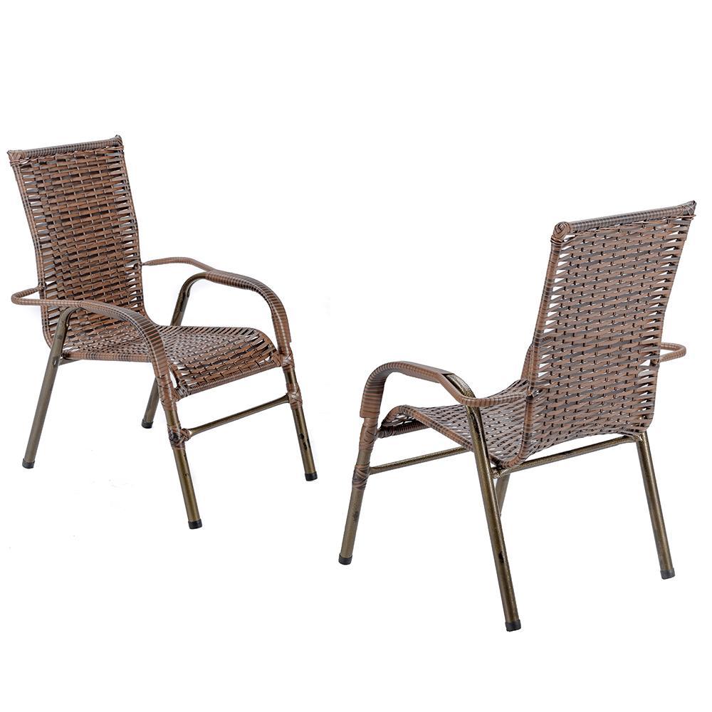 Jogo 2 Cadeiras para Area Edicula Jardim Bela, Ferro e Fibra Trama Fechada Argila
