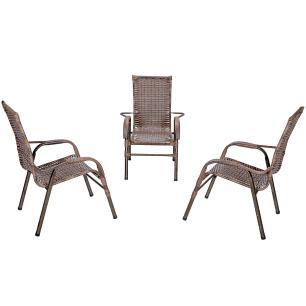 Jogo 3 Cadeiras para Area Edicula Jardim Bela, Ferro e Fibra Trama Fechada Argila