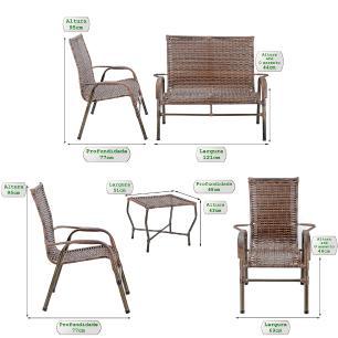 Jogo 1 Mesa Baixa 1 Namoradeira 2 Cadeiras para Area Jardim Bela, Ferro e Fibra Trama Argila