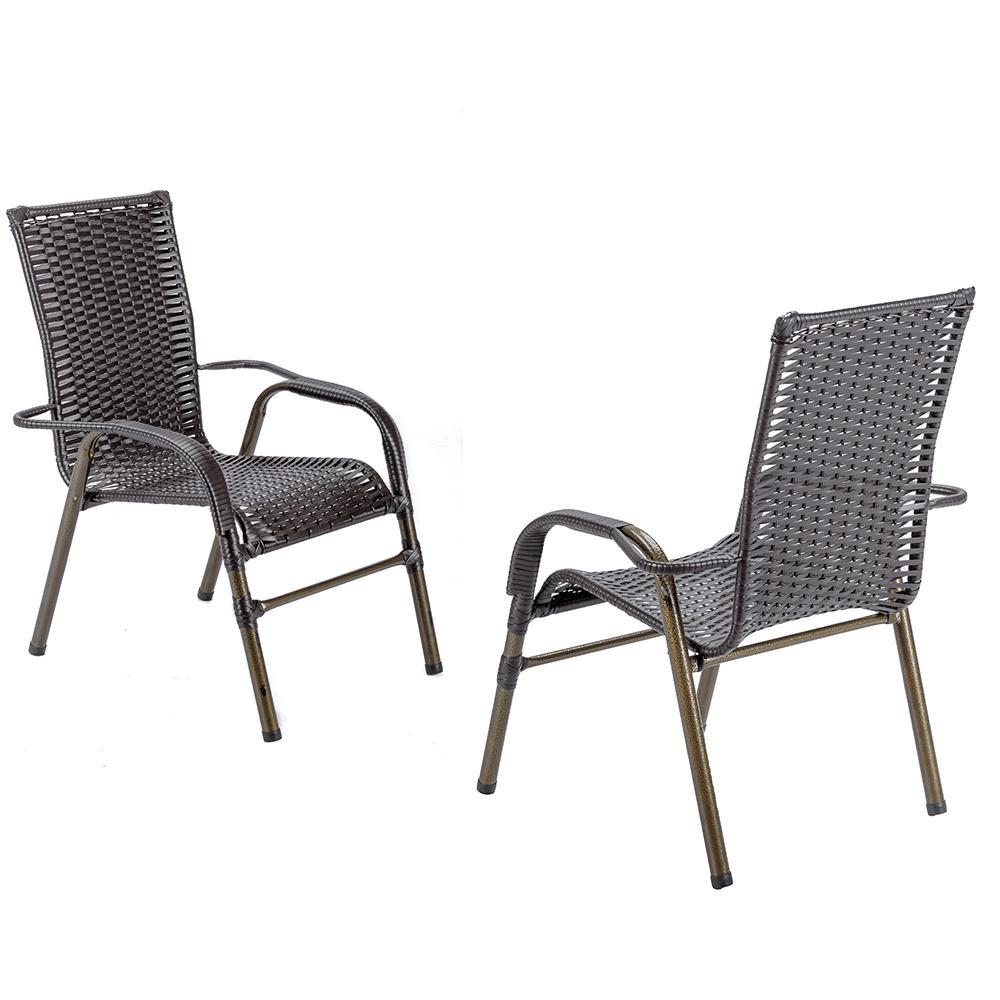 Jogo 2 Cadeiras para Area Edicula Jardim Bela, Ferro e Fibra Trama Fechada Tabaco