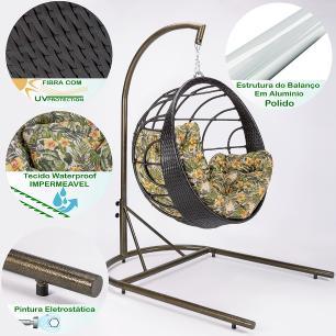 Balanço Suspenso Com Suporte Perola (Ninho) Em Aluminio E Fibra Trama Dupla Tabaco 002