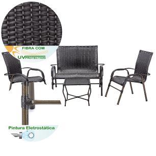 Jogo 1 Mesa Baixa 1 Namoradeira 2 Cadeiras para Area Jardim Bela, Ferro e Fibra Trama Tabaco