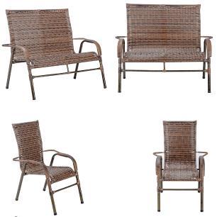Jogo 1 Namoradeira 2 Cadeiras para Area Edicula Jardim Bela, Ferro e Fibra Trama Fechada Argila