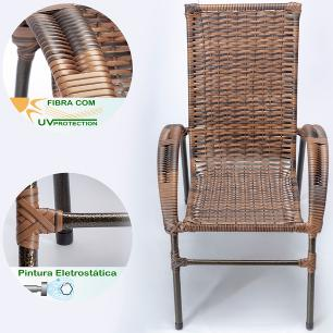 Jogo 4 Cadeiras Cravo para Area Edicula Jardim, Ferro e Fibra Trama Fechada Argila