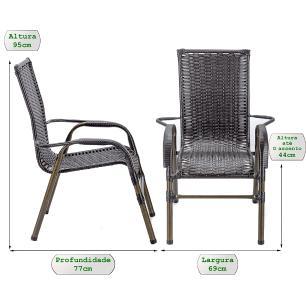 Jogo 6 Cadeiras para Area Edicula Jardim Bela, Ferro e Fibra Trama Fechada Tabaco