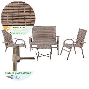 Jogo 1 Mesa Baixa 1 Namoradeira 2 Cadeiras para Area Jardim Bela, Ferro e Fibra Trama Capuccino