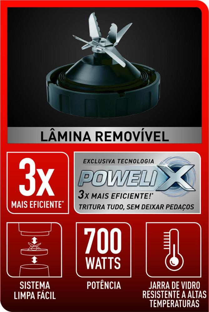 Liquidificador Blendforce Jarra de Vidro 700W Preto LN91
